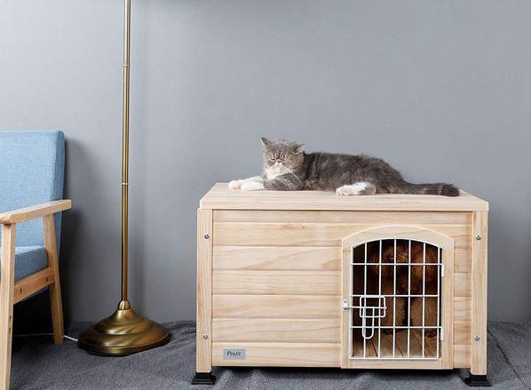 Petsfit Indoor Wooden Pet House With Wire Door Slash Pets